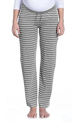 Nitis Umstandsmode Vêtements de nuit Pyjama fait Loungehose Pantalon Femmes - écru/Gris, 40/42 (Herstellergröße: L )