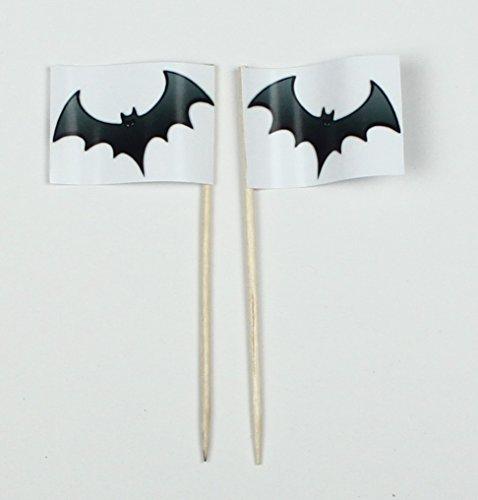 Party-Picker Flagge Halloween Fledermaus Papierfähnchen in Profiqualität 50 Stück Beutel Offsetdruck Riesenauswahl aus eigener Herstellung