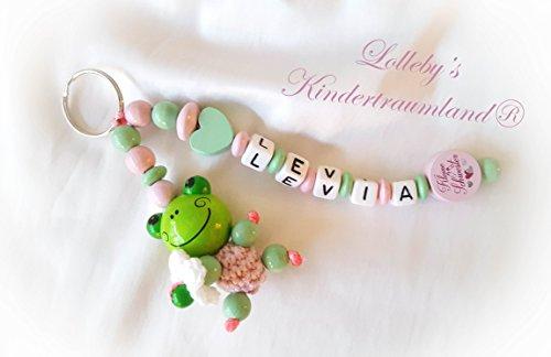 Preisvergleich Produktbild NAMENSANHÄNGER - Anhänger mit Namen - Baby, Kinder, Blume, Schlüsselanhänger, Wickeltasche, Kindergartentasche, Schulranzen (Rosa, Mint, Frosch)