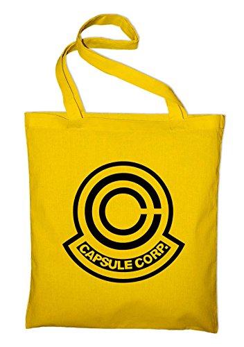 Capsule Corp Jutebeutel, Beutel, Stoffbeutel, Baumwolltasche, schwarz Gelb