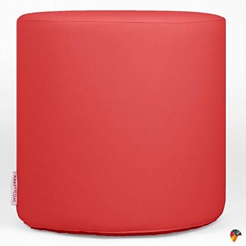Arketicom chill pouf rotondo cilindro poggiapiedi divano in gommapiuma moderno puff di design salotto arredo esterno piscina in ecopelle pouff sgabello rosso chiaro rigido e impermeabile d.55xh.45 cm