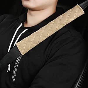Black Panther Universal Car Seat Belt Pads Protect Your Neck and Shoulder,Compatible with All Cars 10.62.3 inch Beige 2-Pack