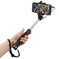 Heartly Luxury Extendable Folding Pocket Size Selfi Stick Monopod With Adjustable Phone Holder Wired Aux Cable For Mobiles & Cameras - Black Stick Black Buttom