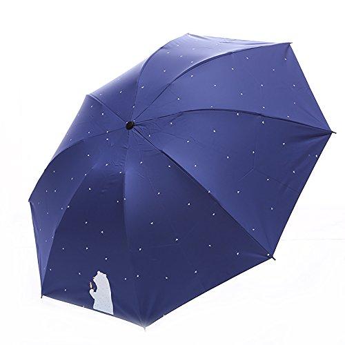 AchidistviQ - Mini Paraguas de Lluvia con diseño de Lunares de Dibujos Animados para Mujer, 3 Paraguas Plegables de Verano antirayos UV Azul Marino