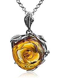 Amber Sterling Silver Rose Pendant Necklace Chain 46 cm