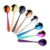 Do Buy soeplepel, rond roestvrij staal, 8 stuks dessertlepel, suikerlepel, kleurrijke eetlepel