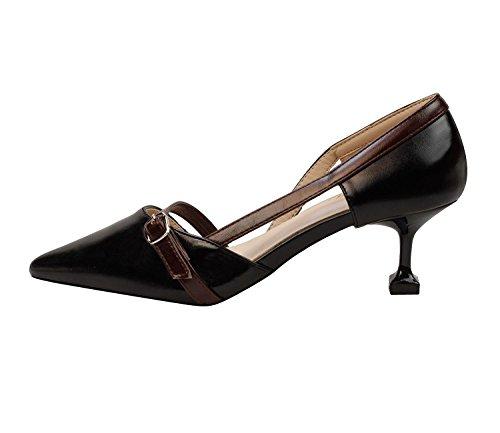 HJMTRY La mode était mince délicate et élégante Chaussures pour femme Chaussures peu profondes Chaussures creuses Black
