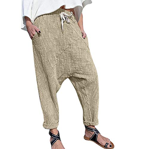 WOZOW Clearance Haremshose Pumphose Hosen Damen Bettwäsche Baumwolle Loose Long Casual Solid Einfarbig High Waist Yoga Aladdin Indian Baggy Trousers Stoffhose Übergröße Plus Size (4XL,Khaki) - Low Rise Bootcut Lederhose
