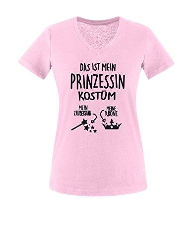 Luckja Das ist mein Prinzessin Kostüm Damen V-Neck T-Shirt Rosa/Schwarz