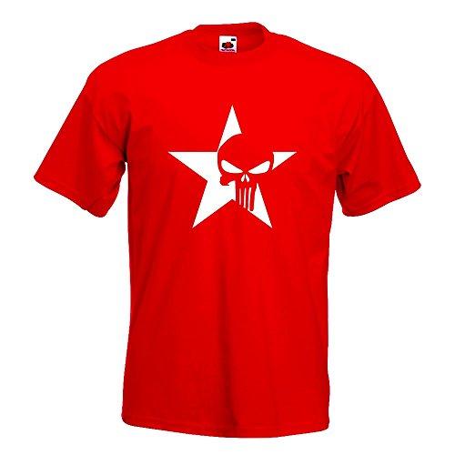 KIWISTAR - US Punisher Stern Star T-Shirt in 15 verschiedenen Farben - Herren Funshirt bedruckt Design Sprüche Spruch Motive Oberteil Baumwolle Print Größe S M L XL XXL Rot