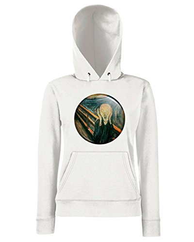 T-Shirtshock - Sweats a capuche Femme TR0137 The Scream Classic Art Painting Edvard Munch Blanc
