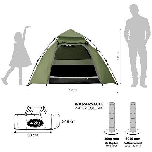 Lumaland Outdoor Pop Up Kuppelzelt Wurfzelt 3 Personen Zelt Camping Festival etc. 215 x 195 x 120 cm robust Grün - 3