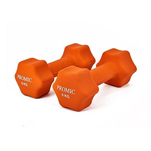 PROMIC  Neopren Hanteln Gewichte für Gymnastik Kurzhanteln- ideal für Aerobic & leichtes Fitnesstraining, 13 verschiedene Gewichte und Farben zur Auswahl (2er-Set), 2 x 6 kg, Orange - 3
