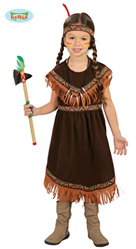 Elegantes braunes Indianer Kostüm Mädchen Kinder - komplettes Indianerin Kostüm Kinder braun mit Kopfschmuck - Indianerin Kostüm Mädchen Fasching Karneval (128/134)