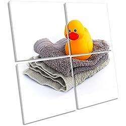 Canvas Geeks Toalla de Goma con diseño de Pato para baño, multilienzo, para Pared, Cuadrada, con Marco, 120cm Wide x 120cm High