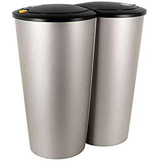 50L Waste Bin Double Recycling Dustbin Rubbish Plastic Cardboard Disposal - Silver