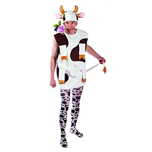 P' tit Clown–22660–Costume adulto Mucca–velluto–Taglia unica–Bianco/Marrone
