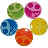 TOY MART Round Smiley Breakfast Plates With Fruit Fork And Spoon Multicolor ( SET OF 6 PLATES )