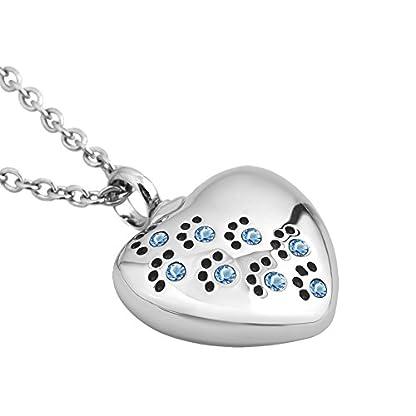 Korliya Heart Love Pet Paw Prints Urn Necklace For Ashes Memorial Keepsake Pendant Cremation Jewellery 2