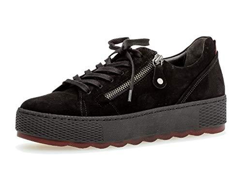 Gabor Damen Low-Top Sneaker 36.538, Frauen Sneaker,Halbschuh,Schnürschuh,Strassenschuh,Business,Freizeit,schwarz/Rosso,39 EU / 6 UK