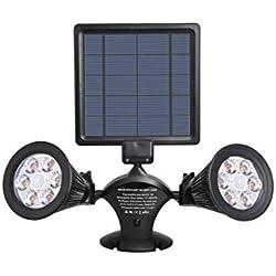 Lumi Jardin DOLBY W31 Projecteur Double Spot Solaire 12 LED Extérieur Etanche Lumière avec Détecteur de Mouvement Capteur, Plastique, Intégré, 3 W, Noir, 41 x 31 x 9.5 cm