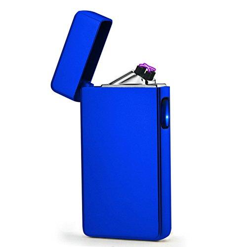 GuDoQi Elettronico Doppio Arco Accendino USB Ricaricabile Impermeabile Plasma Accenditore con Pulsante LED Adatto per Grandi Sigari