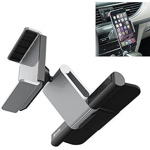 TecHERE CDMount - Soporte Universal de coche para ranura de CD compatible con la mayoría de los teléfonos móviles como el iPhone 6s 6 6plus 5s 5c 5 4s, Samsung Galaxy S7 S6 S5 S3, Nexus, Lumia, Sony Xperia, Huawei, LG, GPS y otros dispositivos de hasta 8 cm de ancho - De primera calidad y diseño elegante - Ajustable con una rotación de 360º