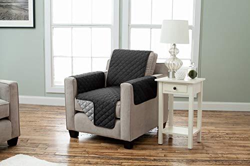 Wende Sesselschoner Sesselüberwurf Sesselbezug Polsterschutz gesteppt mit Armlehnen und drei Taschen (schwarz/anthra)