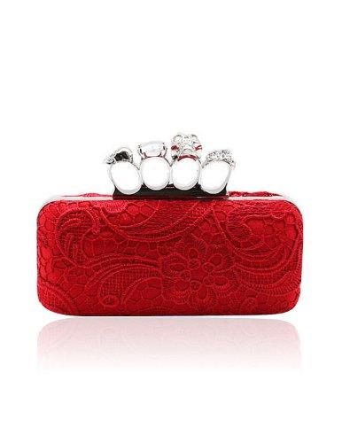 VENI MASEE®® Frauen & Girls Eleganz Abschlussball & Party-Abend Handtasche mit Kristall magischen Ring Griff, Handtasche, Geschenkideen - Farben verschiedenen, Preis / Stück Rot