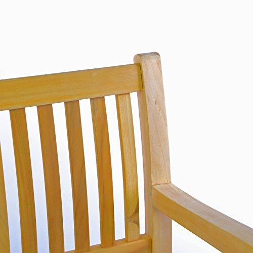 DIVERO 3-Sitzer Bank Holzbank Gartenbank Sitzbank 180 cm – zertifiziertes Teak-Holz Natur unbehandelt hochwertig massiv – reine Handarbeit – wetterfest (Teak natur) - 2