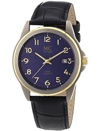 MC Timetrend Herren-Armbanduhr bicolor mit Titangehäuse, Allergiker geeignet, schwarzes Lederband, Analog Quarz 26759