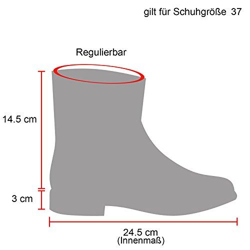 Damen Desert Boots Schnür Camouflage Stiefeletten Leder-Optik Blockabsatz Booties Muster Schuhe 123661 Schwarz Metallic 37 Flandell
