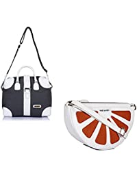 THE MAKER Combo Of Grey And White Synthetic Leather Unisex Kilburn Duffle Bag With White And Orange Synthetic...