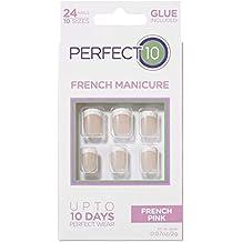 Perfect 10, Uñas Postizas, Manicura Francesa Rosa - Pack de 24 Uñas, ...