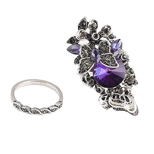 Loveso 2PC Ring Modeschmuck Damen Damenring Ring Retro Kristall of Sparkle Zubehör