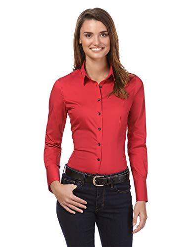 Vincenzo Boretti Damen Bluse besonders tailliert mit Stretch Langarm Hemdbluse elegant festlich Kent-Kragen auch für Business und unter Pullover rot 36 -