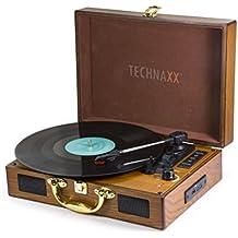 Technaxx TX-101 Belt-drive audio turntable Marrón - Tocadiscos (CC, 100 - 240 V, 50/60 Hz, Marrón, 255 mm, 350 mm)