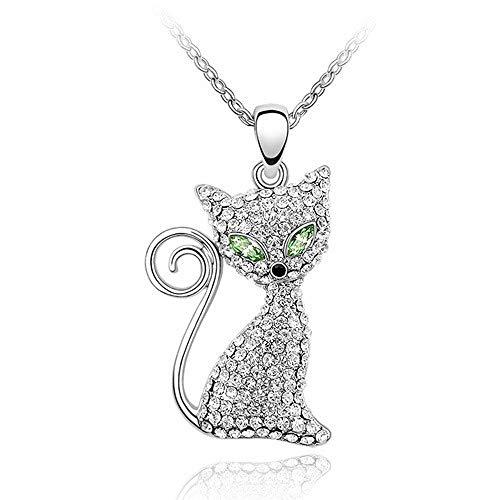 LXIANGP Vintage-Schmuck mit elementarem Kristall Halskette weibliche Katze Intarsien Zirkon Persönlichkeit Anhänger Kette Länge 40 cm + 5 cm