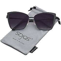 SOJOS Gafas De Sol Unisex Grande Ojo De Gato Cuadrado Plano SJ1086 Con Marco Negro Mate/Lente Gradiente Gris