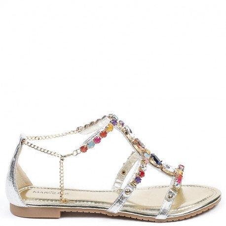 Ideal Shoes - Sandales plates avec brides incrustées de strass Victoirine Argent
