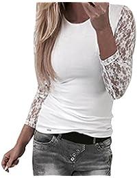 LHWY Bluse Damen Elegant, Frauen Solid Langarm Spitze Nähen O-Neck Mädchen  T- 8c3b1f9635