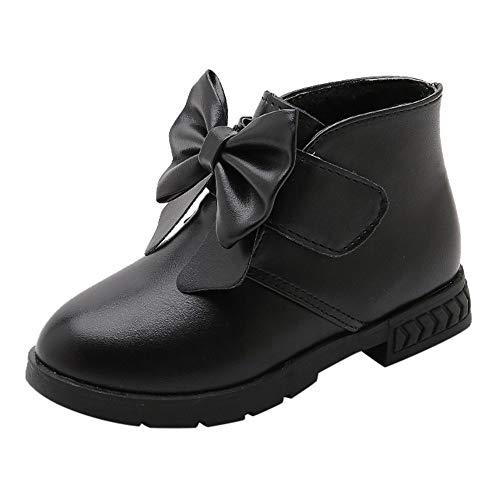 Quaan Kinder (21-36) Prinzessin Schuhe, Kind Baby Mädchen Solide Bowknot Stiefel Karikatur Winter Leder Warm Beiläufig Anti-Rutsch wasserdicht Schnee Festival Retro Klassisch Schuhe Stiefel