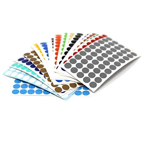 900 Kreise in 5mm 50 Kreise von jeder Farbe Klebepunkte Punkt Aufkleber Inventur Kreise Folie