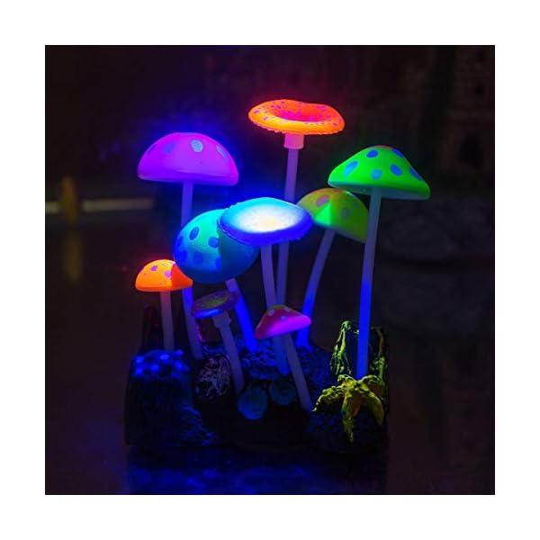 Aquarium Ornaments,Aquarium decoration, Glowing Effect Artificial Mushroom for Fish Tank Decoration Aquarium Plants