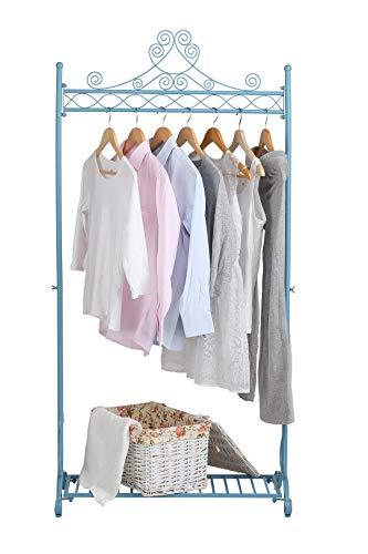 NEUN WELTEN Kleiderstange Kleiderstange Metall Shabby Chic 163 x 80 x 40 cm Kleiderständer Kleiderständer mit Ablagefach (blau) -