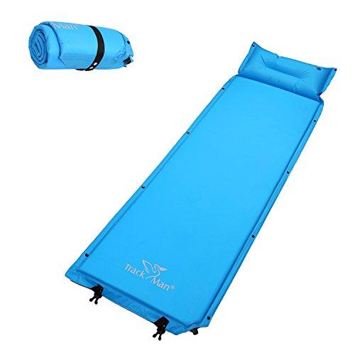 Track man materassino singolo autogonfiabile, leggero impermeabile con cuscino compreso, per campeggio o scalata 2,5 cm di spessore