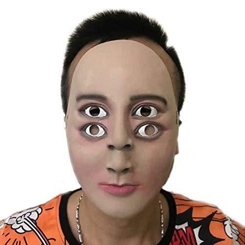 Doppel Kostüm Kinder - VAWAA Lustige Latex Maske Halloween Terror Ghosting Schöne Mann Party Cosplay Kostüme Requisiten Menschlichegesicht Doppel Augen Kinder Kinder Masken