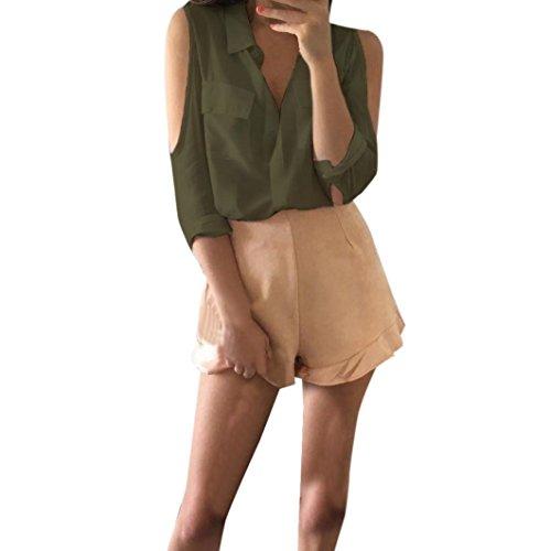 Bekleidung Longra Damen Sommer loses beiläufiges kaltes Schulter Chiffon Hemd Oberseiten Blusen Lange Hülse Tops Army Green