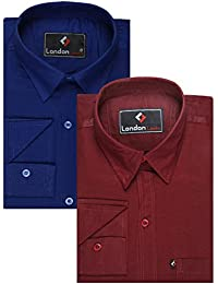 London Looks Men's Cotton Formal Shirts - Pack of 2