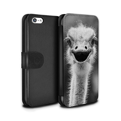 STUFF4 PU-Leder Hülle/Case/Tasche/Cover für Apple iPhone SE / Elefant Muster / Zoo-Tiere Kollektion Strauß / Emu